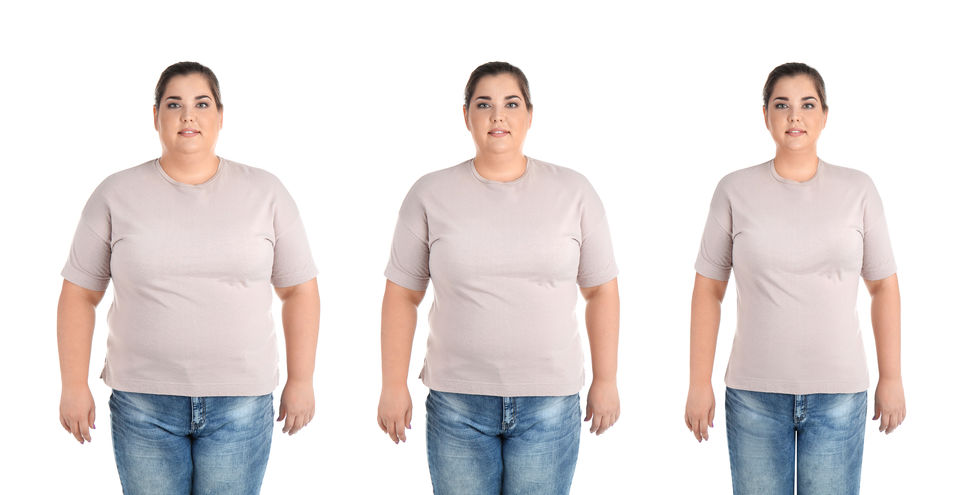 Overweight woman before and after weight loss on white background